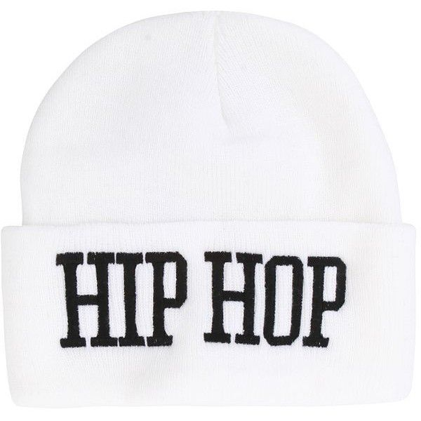 United Couture Hip Hop Beanie ($7.50) ❤ liked on Polyvore featuring accessories, hats, beanies, extras, white, embroidered beanie hats, embroidered hats, white beanie, embroidery hats and white beanie hat