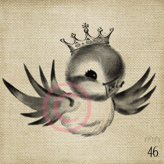 Adorable Royal  Vintage Bluebird LARGE Digital Image Download Sheet Transfer To Totes Pillows Tea Towels T-Shirts