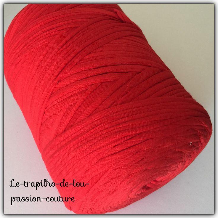 Grosse Bobine de trapilho coton elastique couleur Rouge REF ROU129 : Fils par le-trapilho-de-lou-passion-couture