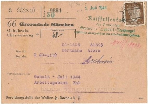 ... SS Dachau 3 Konzentrationslager concentration camp payroll office (5