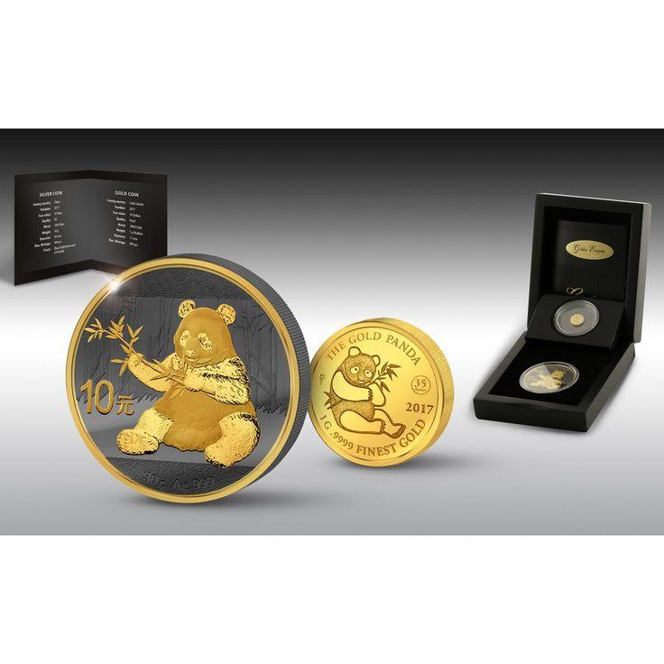 2017 Golden Enigma Panda Jubilee 30 Gram Silver and 1 Gram Piedfort Gold Commemorative Coin Set