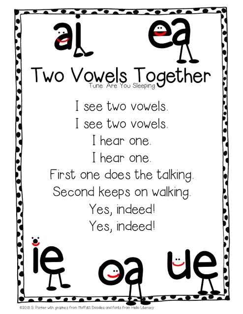 """Song, """"Two Vowels Together"""" (Tune: """"Are You Sleeping?""""; from Learning With Mrs. Parker)"""
