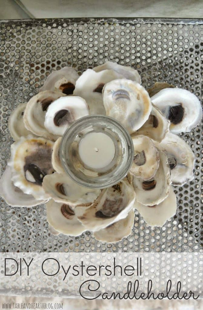 Use collected seashells to make a decorative beachy shell candleholder using just hot glue and a styrofoam ball. Designer home decor stores have had these for upwards of $100!