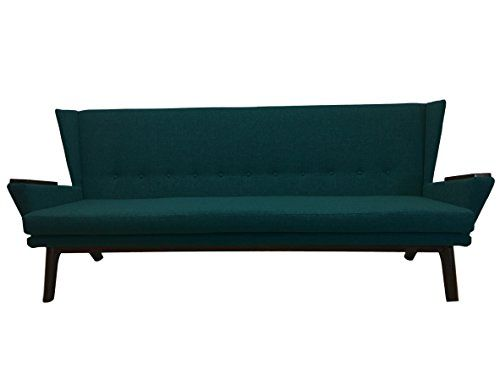 Sectional Sleeper Sofa Teal Green Upholstered Mid Century Modern inch Sofa Grey Couch Davenport Bench Seat Contemporary MCM