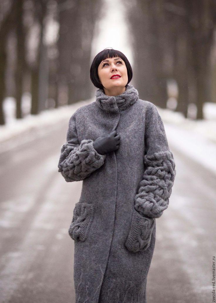 "Felted + knitted coat | Купить пальто "" Аэропорт...Улетаю..."" - темно-серый, пальто валяное, валяное пальто"