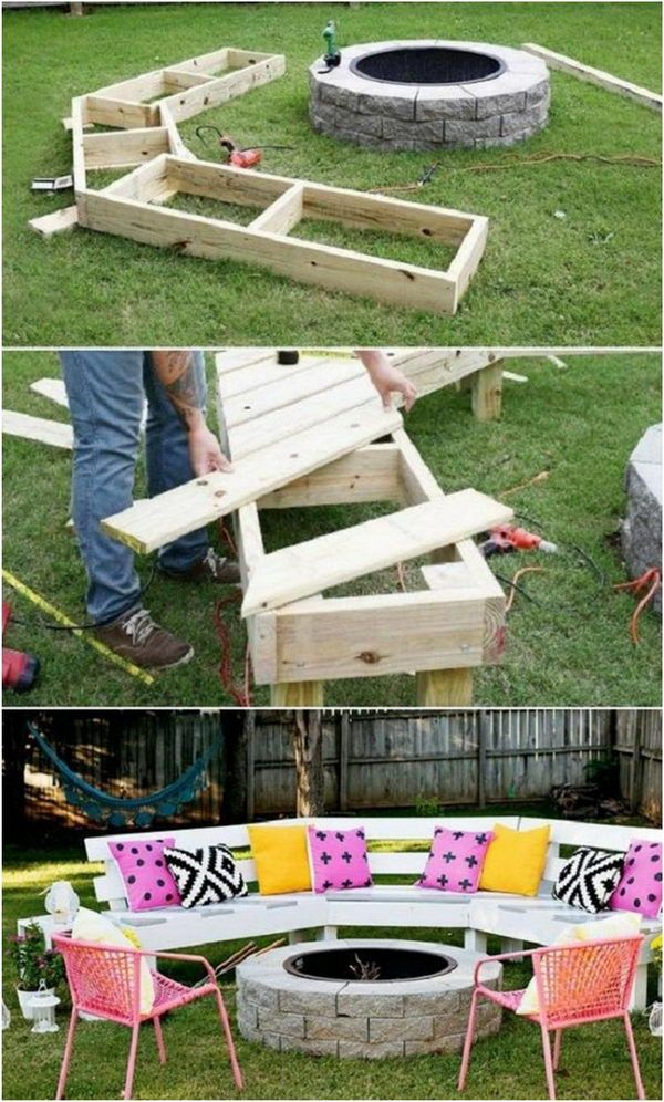 40 Creative Outdoor Bench Diy Ideas And Tutorials In 2020 Diy Backyard Backyard Projects Fire Pit Patio