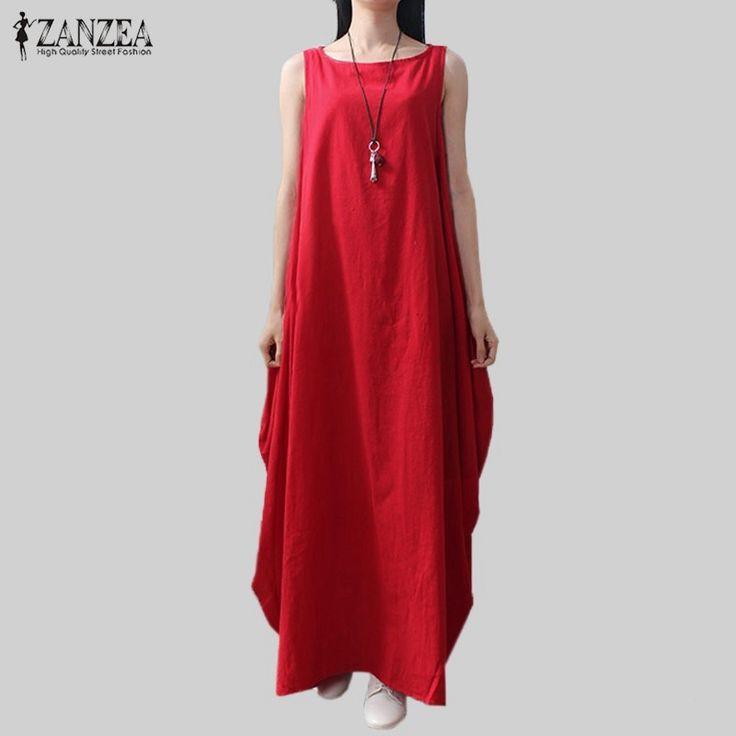 Casual Retro Solid Summer Dress  Women Elegant Loose Sleeveless O Neck Dress Cotton Linen Long Maxi Dress Vestidos Plus Size