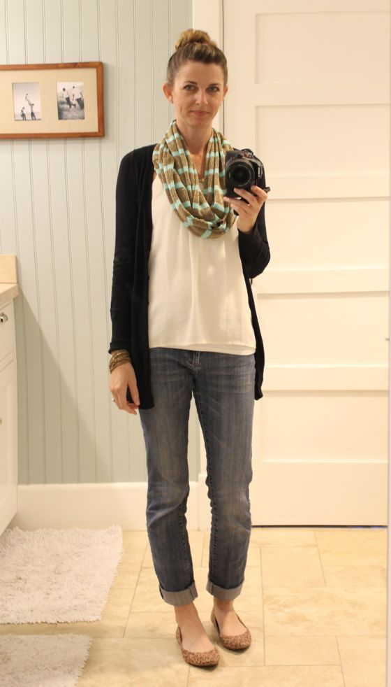 what i wore @ the pleated poppy || gold & mint cowl scarf, cardigan, jeans, leopard flats