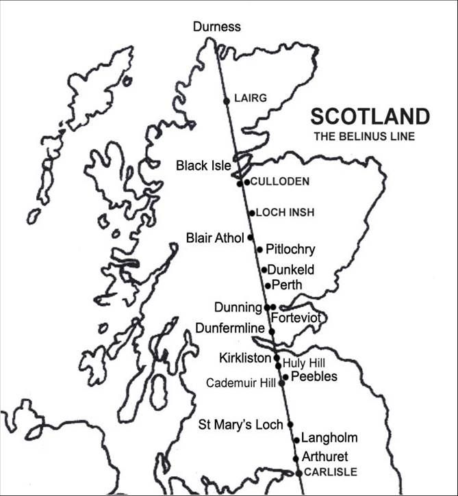 This diagram shows a ley line running through Scotland.