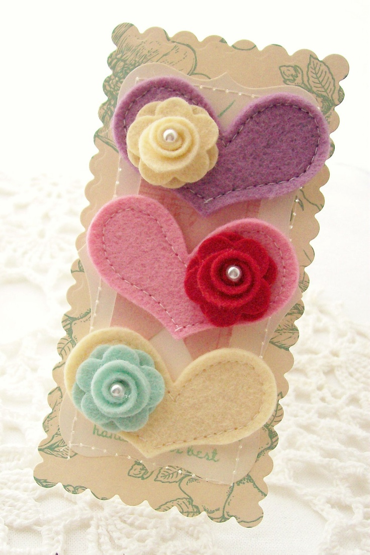 Heart Wool Blend Felt Embellishments.