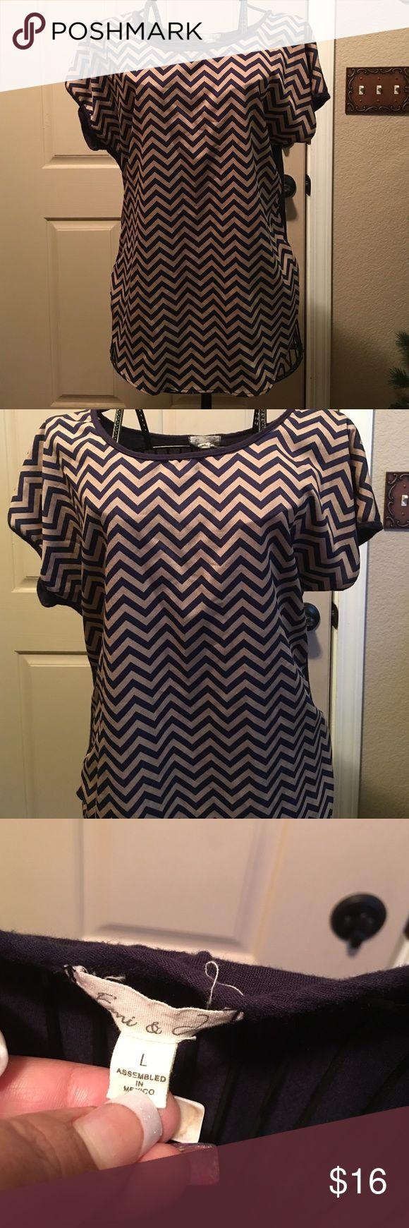Sz Large stylish Chevron blouse EUC! Used lightly. Tops Blouses