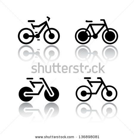 Set of transport icons - bikes, vector illustrations, set silhouettes isolated on white background.