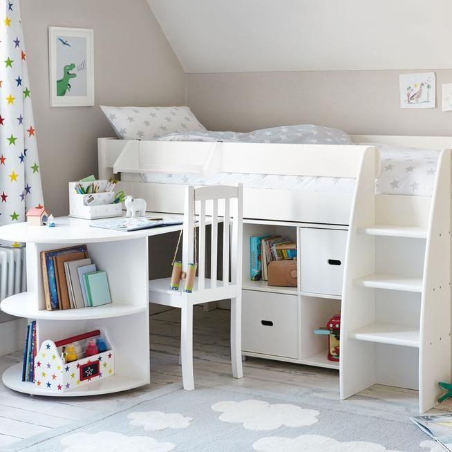 Merlin Mid Sleeper Bed Storage Unit With Images Mid Sleeper Bed Cabin Beds For Kids Kids Beds With Storage