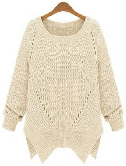 Shop Apricot Long Sleeve Hollow Asymmetrical Sweater online. SheIn offers Apricot Long Sleeve Hollow Asymmetrical Sweater & more to fit your fashionable needs.