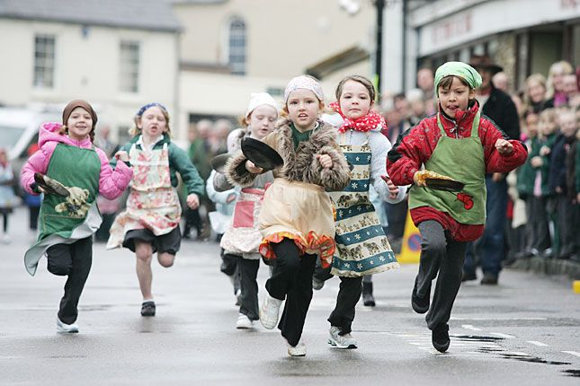 Kid's competition at the Olney Pancake Race.  (This event has been held since 1445!)
