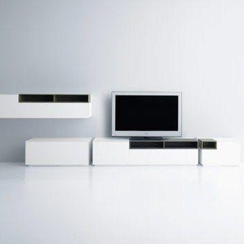 MDF Italia Inmotion TV meubel. Het systeem bestaat uit een kolom van units, onderkasten, stapelbaar of aaneengekoppeld. De flexibiliteit van INMOTION is groot: draaibare modules, met laden of grote laden, met klapdeuren,  stapelbare modulaire eenheden of  -