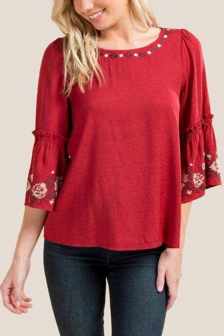 543e7141a Rose Stitch Pattern Statement Sleeve Blouse - Brick  Pattern Stitch ...