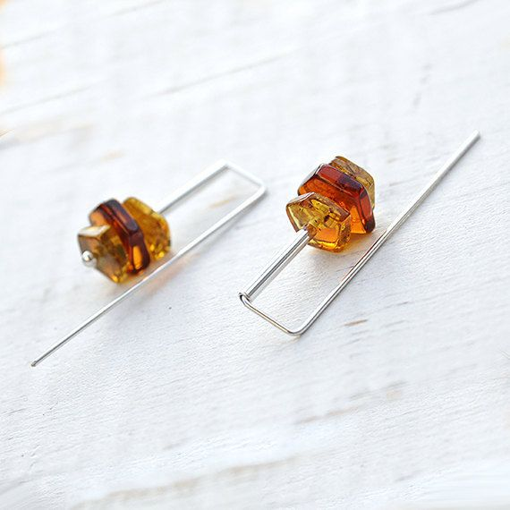 Amber earrings Baltic amber jewelry dangle statement modern silver earrings 925 sterling silver best friend  gift for women gift for her