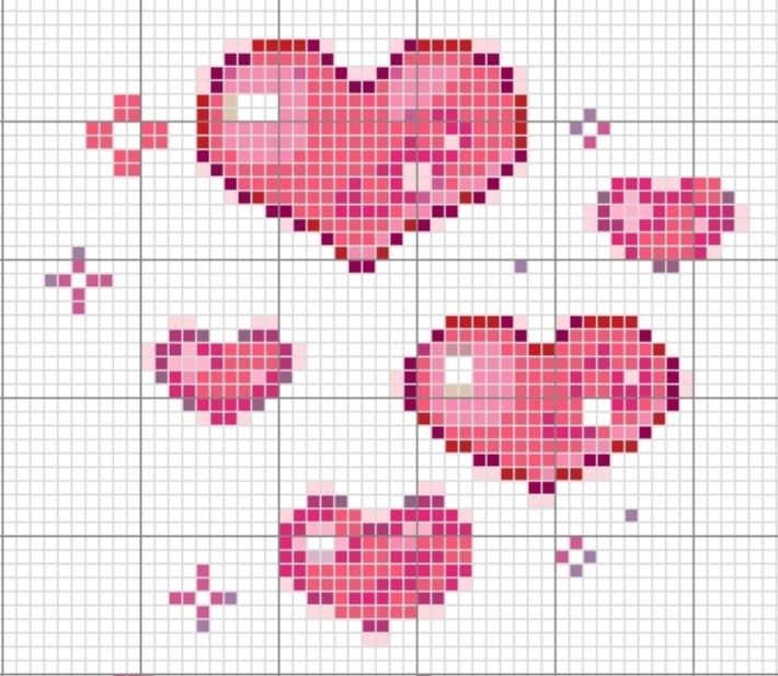 Love, hearts cross stitch