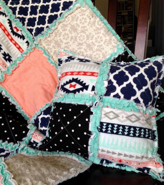 Rag Quilt Pillow, Tribal, Mint Peach and Navy, Handmade Quilted pillow, Rag quilt and Pillows