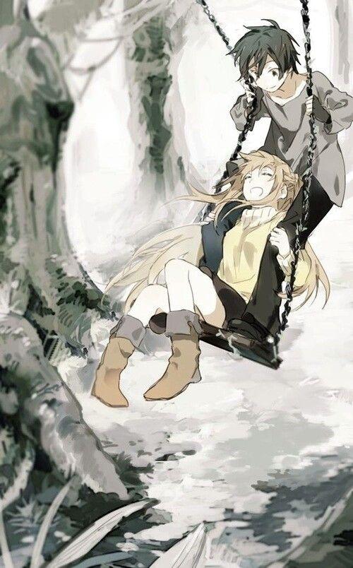 Kirito, Asuna, swing, couple; Sword Art Online