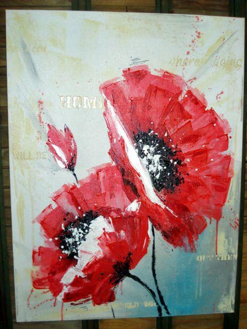 Toile ou tableau peinture moderne acrylique coquelicots : Peintures par olga-et-caetera