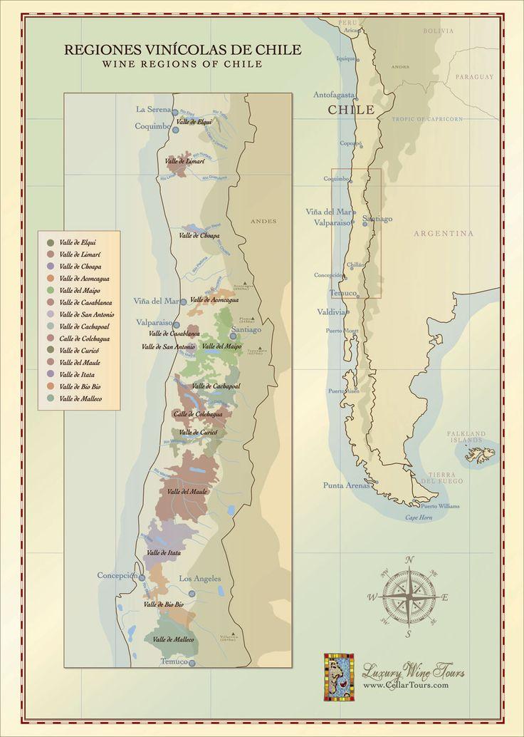 Chilean Wine Regions Map Courtesy of www.cellartours.com