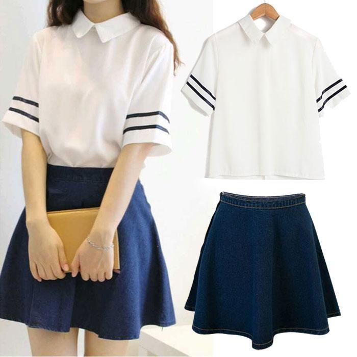 S--2XL Korea Style College Uniform Chiffon Shirt + Denim Skirt A Set Free shipping-himifashion