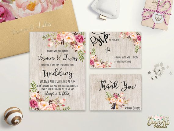 Floral Wedding Invitation Printable Boho Wedding by DigartDesigns