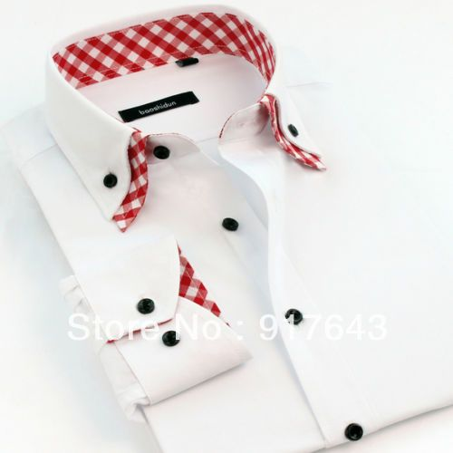 Multi size and colors double white collar design cotton charming men's shirt UK US $39.99