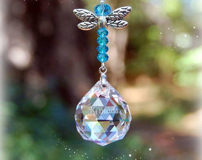 Healing Purple Flower Crystal Cut Suncatcher//Prism W//Clear Crystal Ball USA