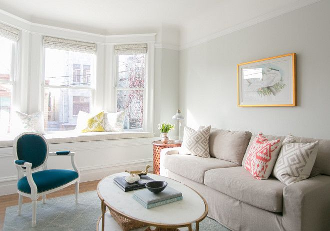 Wall paint color: Benjamin Moore Horizon. Braun + Adams Interiors. If we go for something a little less blue.