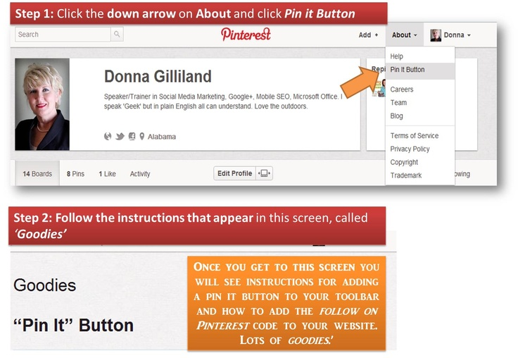 How to add a Pin It bookmarklet to your browser and how to add the Pinterest Follow code to your website. Enjoy!