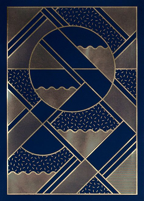 Kristina Krogh, limited edition letterpress print (edition of 200). Blue uncoated paper embossed with shiny gold metallic foil. 50x70 cm.