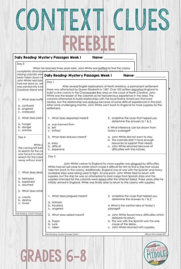 Daily Reading Context Clues Week 1 Context Clues Reading Passages Middle School Reading Comprehension