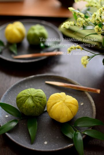 Japanese sweets, Sweet Potato Chakin Shibori colored with Matcha さつまいも茶巾