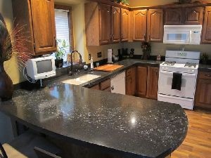 Poured Concrete Countertop Embedded Glass River