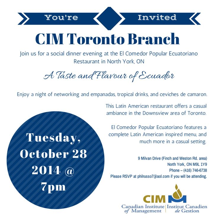CIM Toronto branch will be holding a networking and social evening on Oct 28, 2014. Fro more info, visit http://bit.ly/ZLP1yj