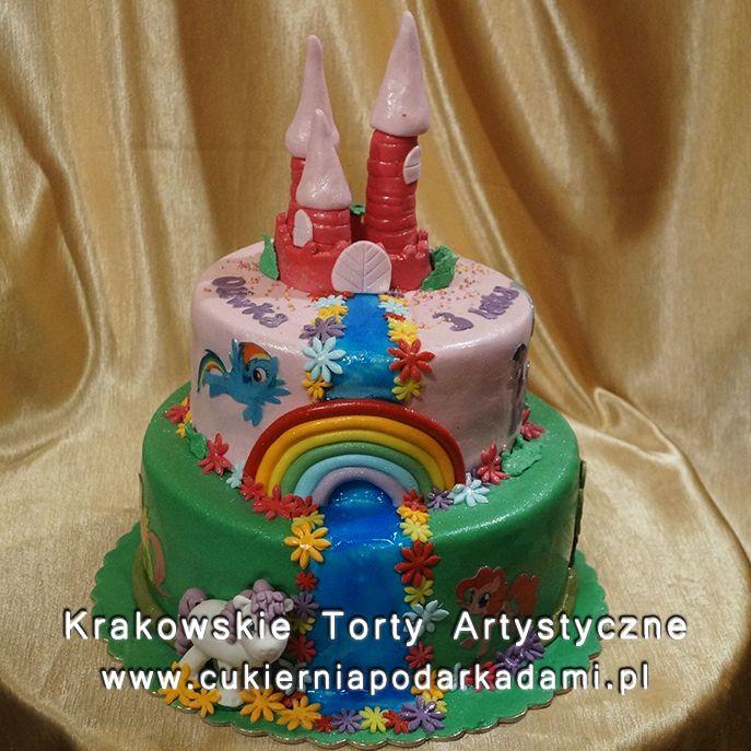 120. Tort zamek i kucyki Pony. Castle cake with My Little Pony.