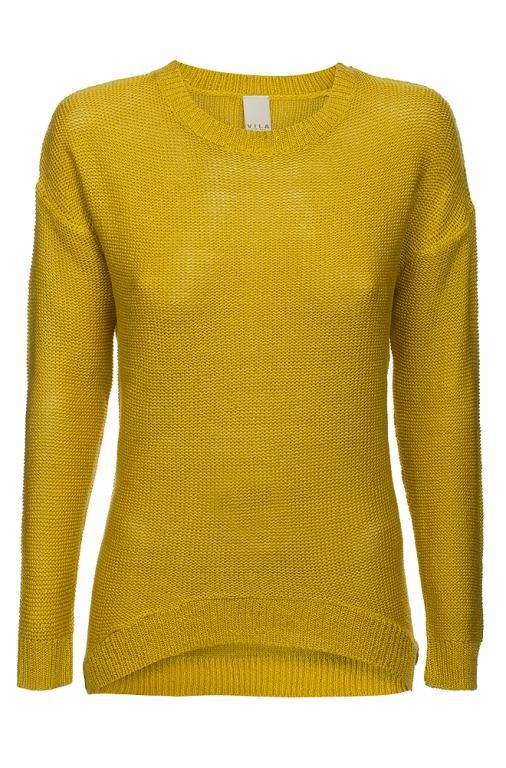VILA sweter rękaw 7/8 musztardowy S 36