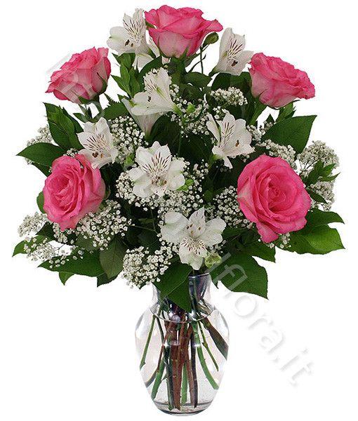 Bouquet di gigli Alstromeria e rose rosa | International Flora