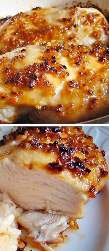 Baked Garlic Brown Sugar Chicken! Only 4 ingredients: oil, garlic, brown sugar & chicken. Pair it with home style potatoes, it's amazing.