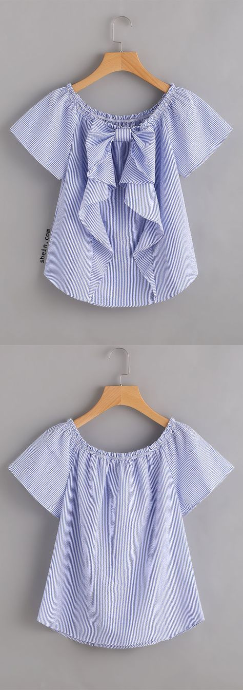 Vertical Striped Frill Trim Blouse