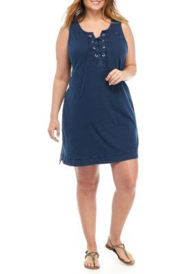 New Directions Weekend Women's Plus Size Grommet Lace Front Dress - Dark Wash - 0X