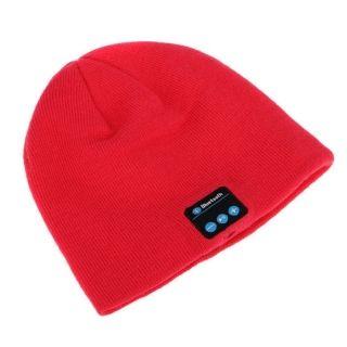 c899cfab2aa Bonnet Tricoté Chaud Hiver Haut-parleur de musique Sans Fil Bluetooth  Écouteur Mains Libres Pour Smartphone Rouge