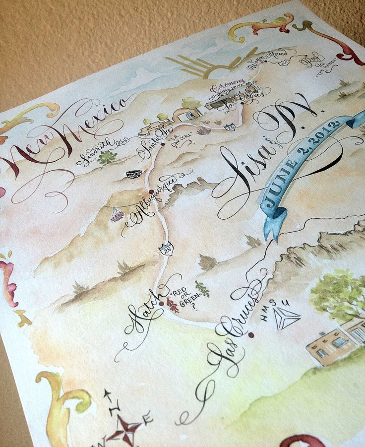 hand drawn lettered and watercolored wedding map