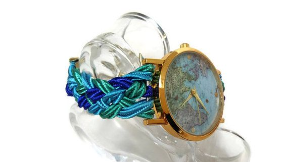 Womens Turquoise Braided World Bracelet watch, Soutache cord watch for women by HARMONYHOURWATCHES