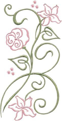 Flower 4 - stylized floral machine embroidery design for 5x7 hoops. Looks great in black & white.