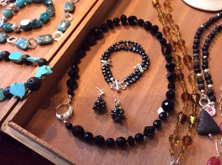 Lava stones, pearls, turqoise stones, glass