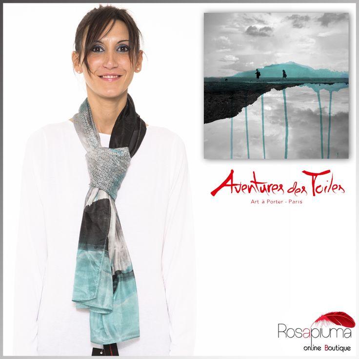 """Ispirato all' opera """"Mademoiselle A"""", dell' artista contemporanea  Fabienne Rivory, questo foulard in seta ti aspetta nel nostro #eshop!  #Rosapiumaboutique > http://bit.ly/1SBAY7w  #aventuresdestoiles"""